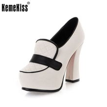 2016 Spring Fashion Women High Thick heel Shoes Vintage Grid Red Bottom Patching Pumps Causal Platform Pumps Women Shoes Summer