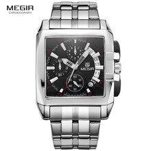Megir رجال الأعمال الجديدة ساعات كوارتز موضة العلامة التجارية ساعة اليد كرونوغراف للرجل ساعة ساخنة للذكور مع التقويم 2018