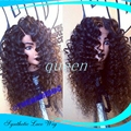 Stock Top Quality High Density Black curl Heat Resistant Synthetic Hair Wigs Fiber Loose Curly Wigs Synthetic Lace Front Wigs