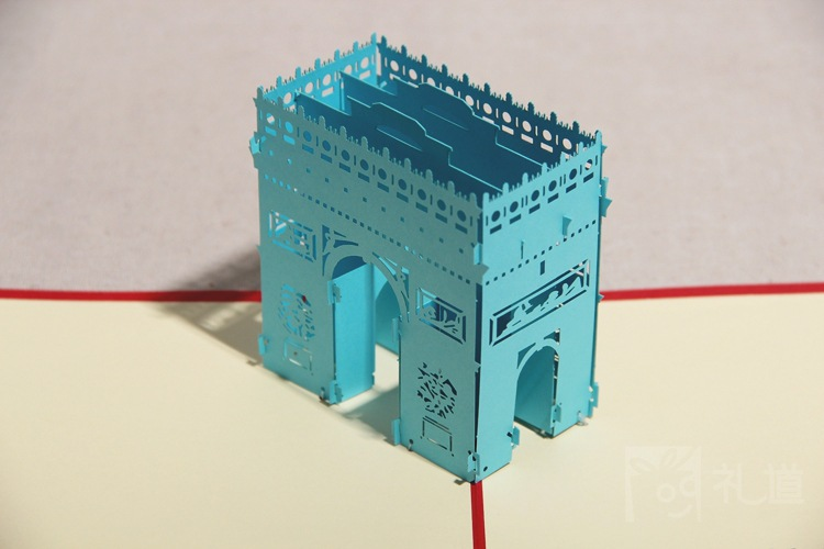 US $47 96 |paris arc de triomphe triumphal arch model 3d red postcards pop  up card greeting free shipping square gift paper wizard of oz on
