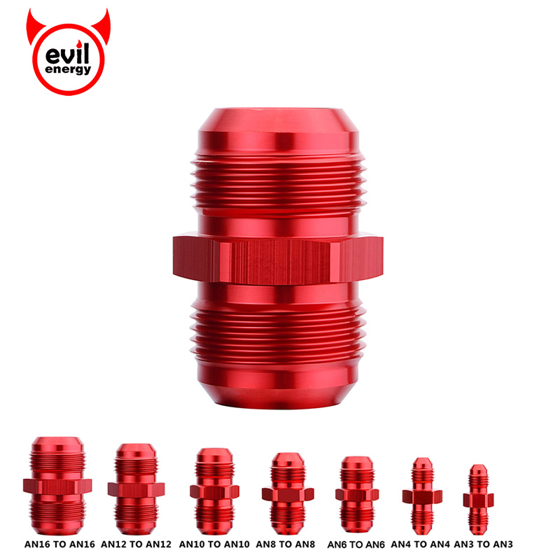 Evil Energy PTFE Hose End Fitting 6AN Straight Fuel Line Adapter for E85 Oil Gas Black