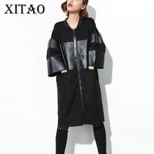 [Xitao] Новый 2017 Европа Осень Мода Повседневная Женская обувь в стиле пэчворк из искусственной кожи oversize пальто Женщины три четверти рукавом v-образным вырезом Тренч CXB630