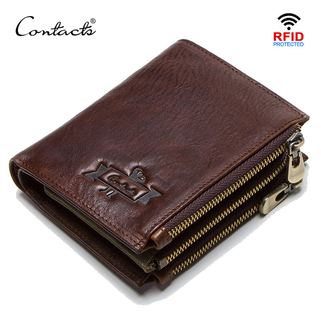 CONTACT'S 100% cow leather men's wallet RFID male portmane short cuzdan mens card holders coin purse cartera hombre man's walet