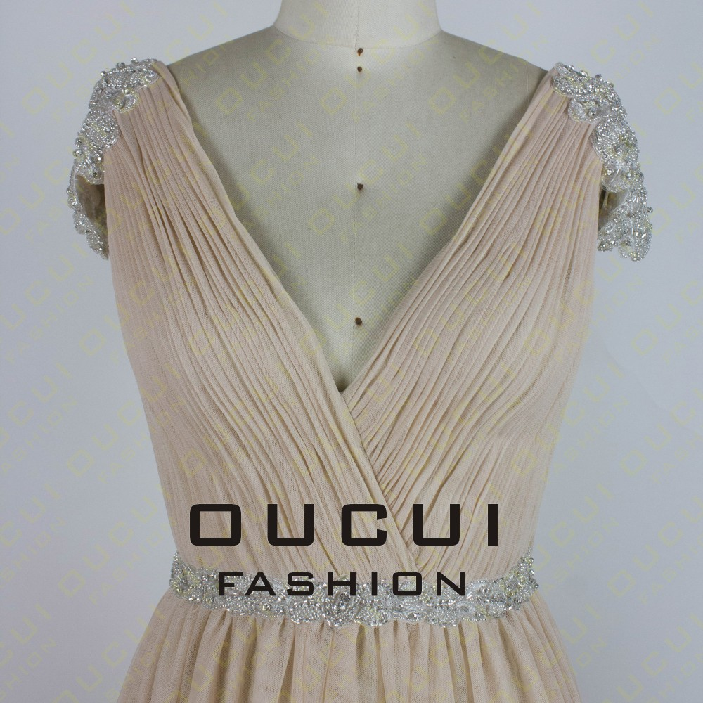 Tulle Fabric Pleat With Beading Handwork Bridesmaid Mermaid Long Prom Dress With Stones OL102785 vestido de festa de casamento 14