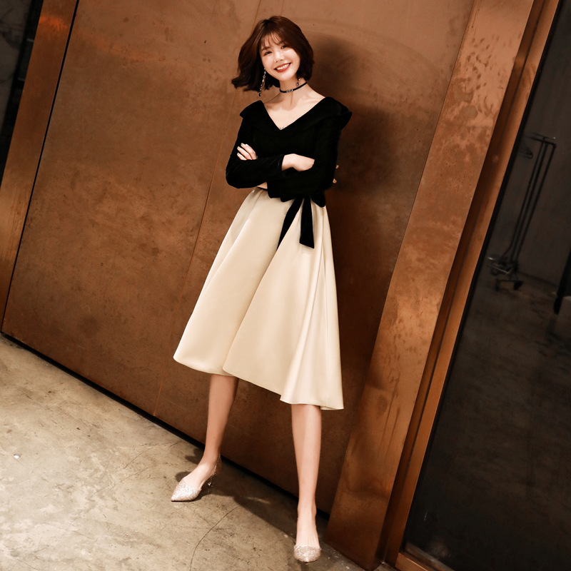 Black Party Dress Elegant Tie Bow Ruffles Formal Party Gowns Simple V-neck Zipper Back A-line Knee LengthCocktail Dresses E377
