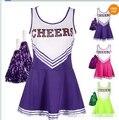 Linda High School MUSICAL Cheerleader menina traje uniforme 3 colorido trajes de halloween para as mulheres