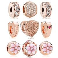 Authentic 925 Sterling Silver Rose Sparkling Radiance Charm Bracelet Set Fit Pandora Bracelet DIY Jewelry Bangle for women