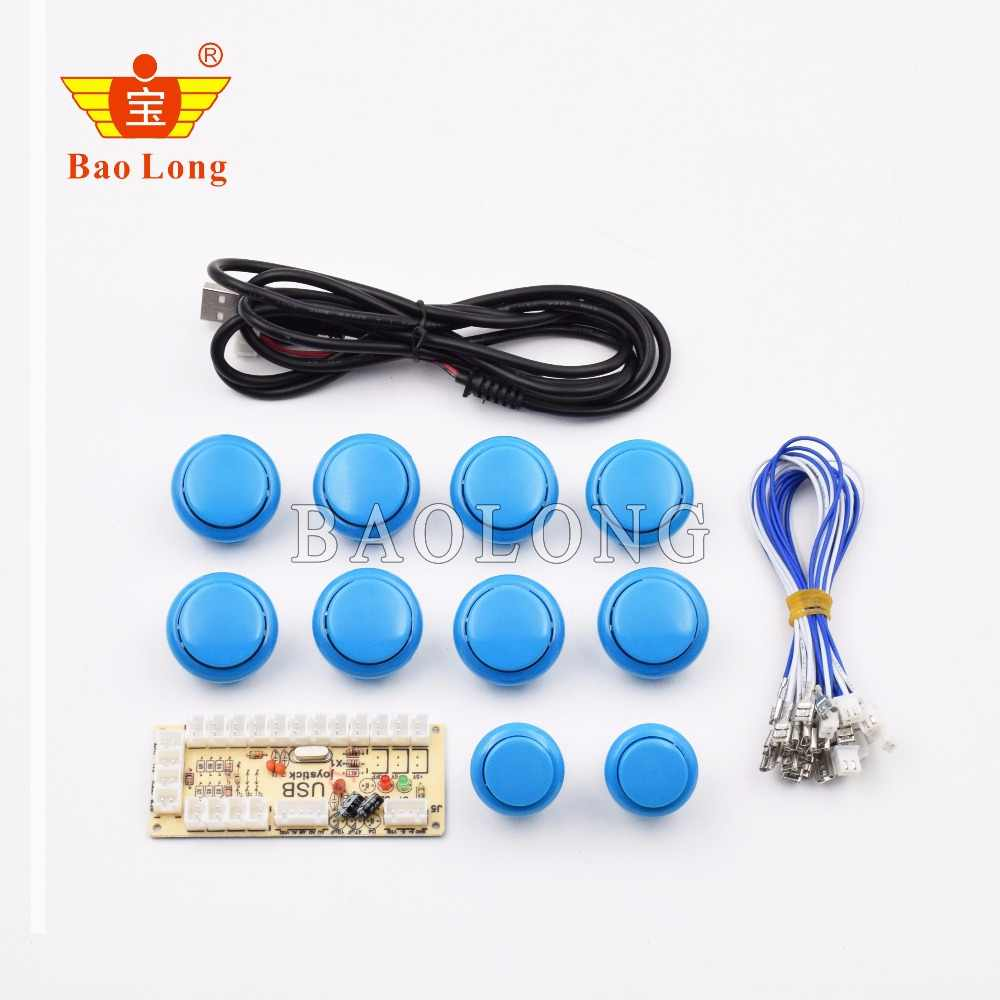 Arcade Game Kits Part With 8x30mm Arcade Push Buttons 2x24mm Buttons USB Cable PC Encoder 10xButtons Wires For PC/Windows Games