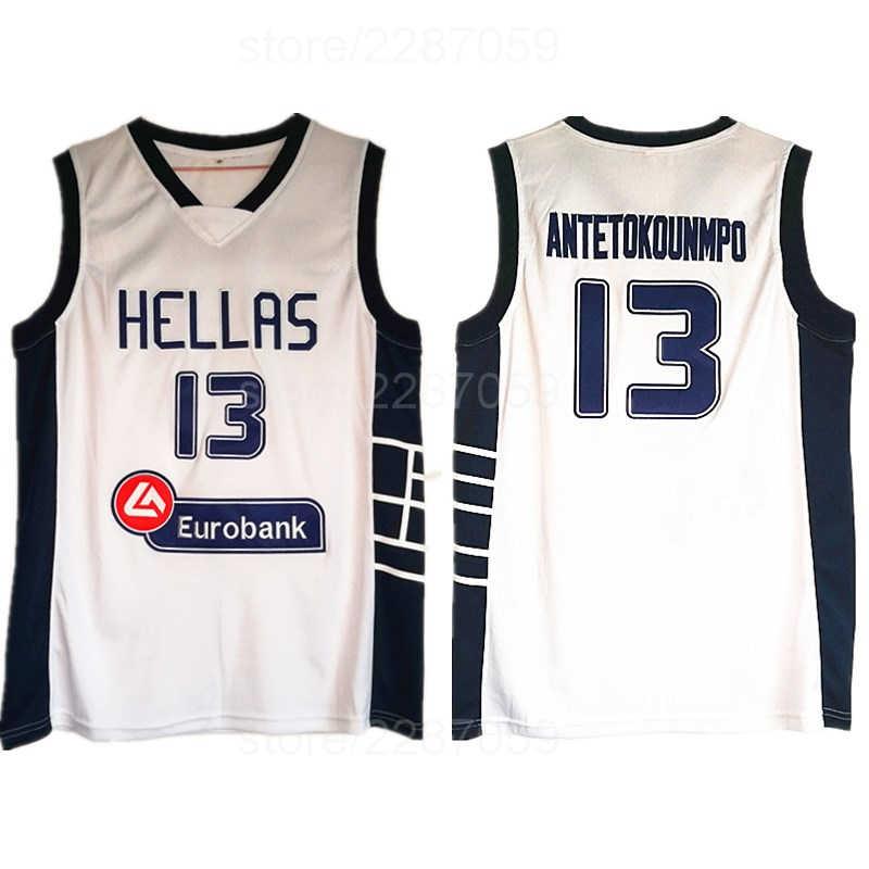 9791ecb49 Ediwallen The Alphabet Basketball 13 Giannis Antetokounmpo Jerseys Cheap  Sale Men Greece Hellas Jersey White Color