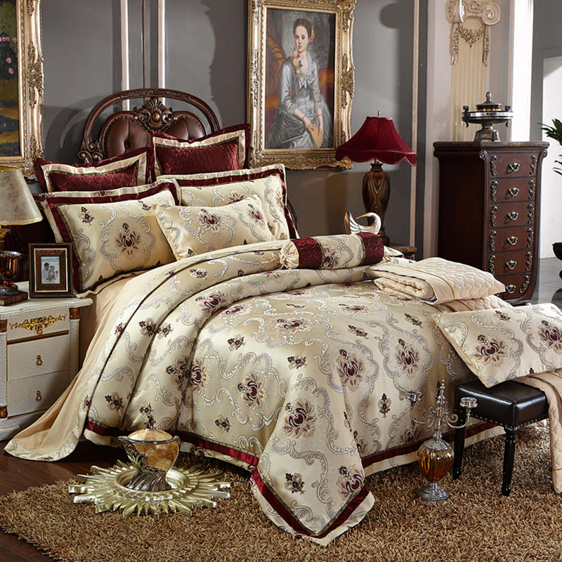 Luxury silk satin Cotton jacquard Sheet Pillowcase Duvet Cover Set Queen King size 4 6 8 10pcs Collection Bedding Kit ...