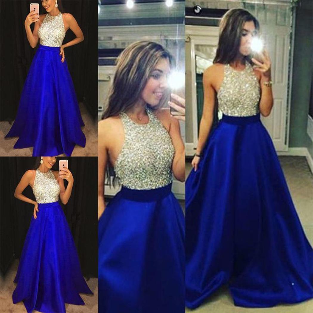 Dress Waist Formal Long Slim Summer O-neck Party Sleeveless Middle Women Solid s Neck Blue O Casual Sequin