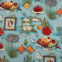 BZ36 Frida y Plantas de 100*140 cm Azul Impreso Retro de La Vendimia de Euramerican Estilo Sarga de Algodón Popelín Tela Para Las Mujeres vestido de La Falda