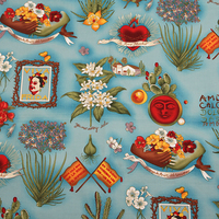 BZ36 100 140cm Blue Frida And Plants Printed Retro Vintage Euramerican Style Cotton Twill Poplin Fabric