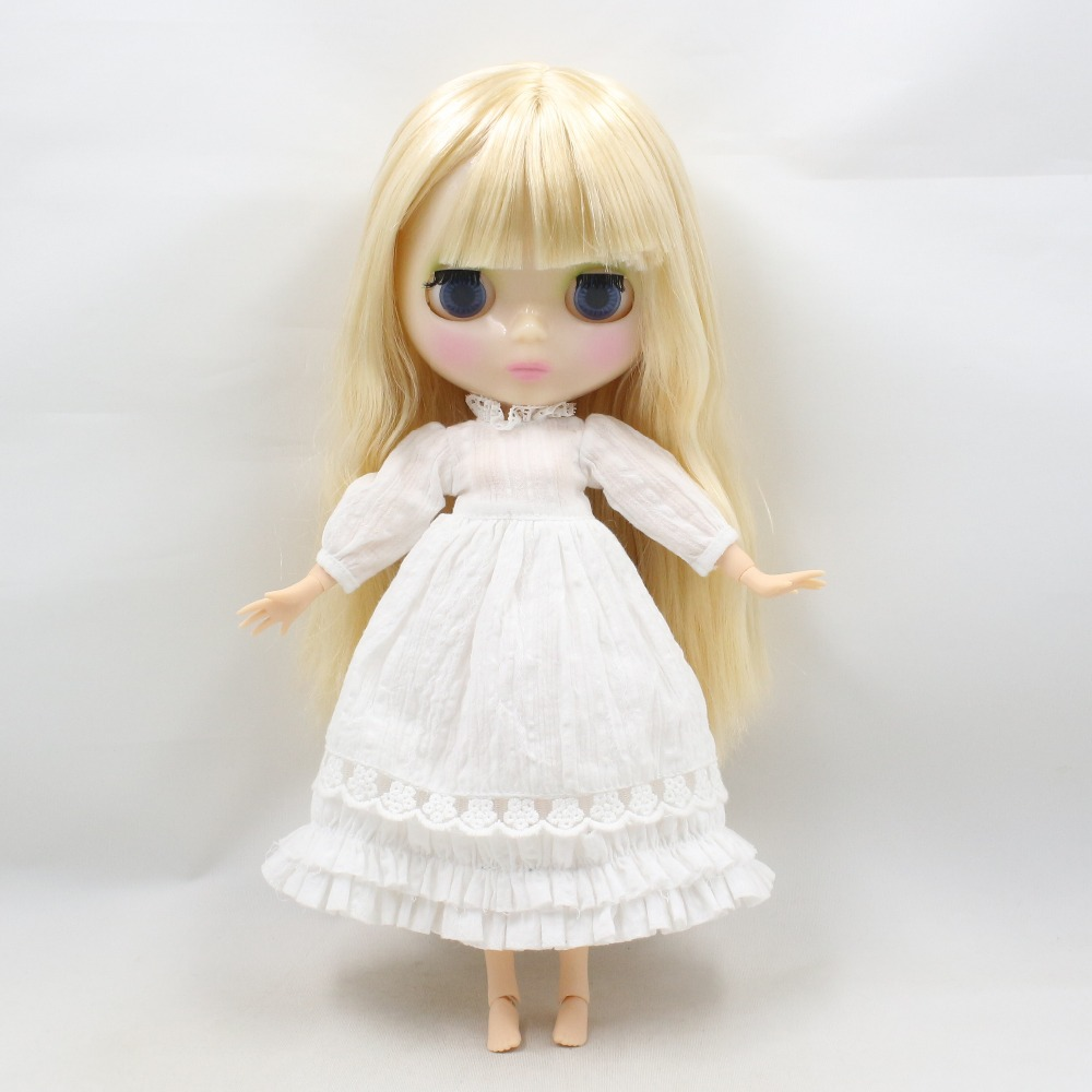 Neo Blythe Doll Floral Lace Dress with Bow, Ear & Headdress 1