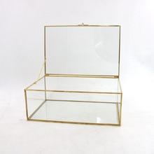 Jewelry Box Glass Storage Box Retro Style Dressing Table Tis