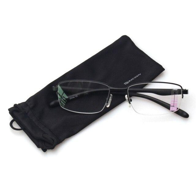 2cdf383bbfc Reading Glasses Progressive Multiple Focus Readers Comfort Metal Half Frame  Multifocus Glasses for Men and Women