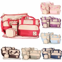 5pcs Baby Diaper Bag Multifunctional Baby Nappy Changing Shoulder Pack Maternity Mother Stroller Bag Newborn Infant Nappy Bag