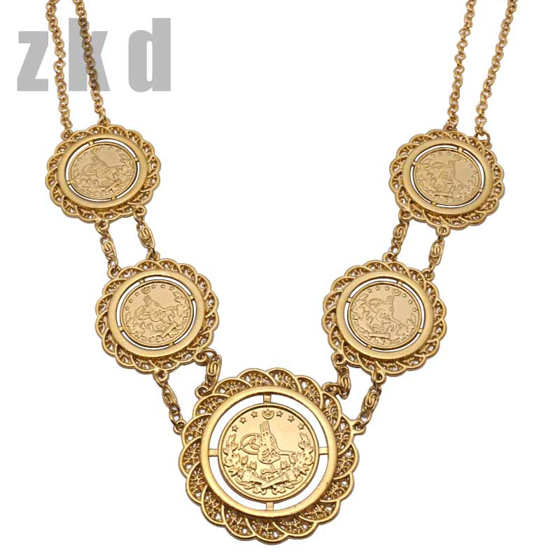 zkd islam muslim 70CM Turkey Coins Arab Coins necklace Turks Africa Party jewerly