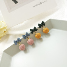 Sweet bowknot earrings personality joker frosted lovely ball  small for women New female fashion jewelry drop