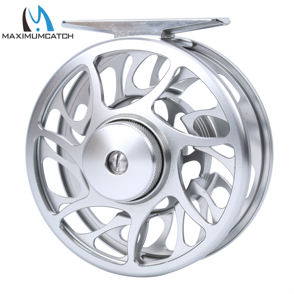 Maximumcatch 06N 2/3/4/5/6/7/8WT Fly Fishing Reel CNC Machine Cut Large Arbor Aluminum Silver Color Fly Reel piscifun fly fishing reel platte 3 4 5 6 7 8 9 10 wt cnc machine cut fishing reel large arbor aluminum fly reel302 327 365