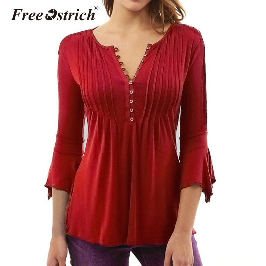 Free Ostrich Autumn Loose Women Blouse Casual Full Sleeve Solid Flare Sleeve Button O Neck Daily