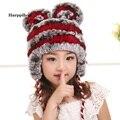 Новый милый сладкий родитель-ребенок ребенок дети взрослых настоящее натуральная кожа мех шляпа кролика рекс меховая шапка леди кошачьи уши генеральный теплую шапку