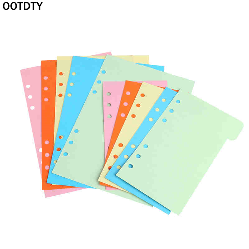5Pcs Color Separated Page Scratch Pad Refills 6 Hole Blank Colorful Paper For A5 A6 Loose Leaf Binder Notebook