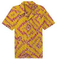 Для мужчин Гавайский футболка с коротким рукавом мужской роскошный хлопок Алоха с цветочным принтом Африканский батик Повседневная рубашка одежда 2018 Лето Camisa