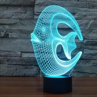 Amazing Magical Optical Illusion 3D LED Night Light Reef Fish USB Table Light Novelty Lighting Lamp