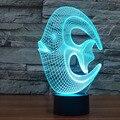 Mágica incrível Ilusão de Ótica 3D Peixes de Recife USB Mesa de Luz Luz Da Noite LEVOU Novidade Iluminação Da Lâmpada Atmosfera Luzes