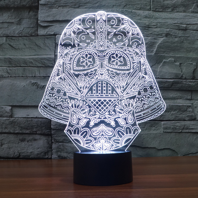 Star Wars 3D Visual Night Light LED Desk Black Warrior Lamp Switch Luminaria de mesa de Lampe
