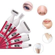 5 em 1 mulheres depilação lady shaver depilador feminino máquina de barbear elétrica trimmer navalha para sobrancelha rosto axilas biquíni