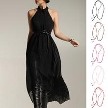 Trendy Pu Belt Girls Ladies Skinny Narrow Bowknot Dress Thin Decor gesp vrije stretch riem ceinture femme 164cm