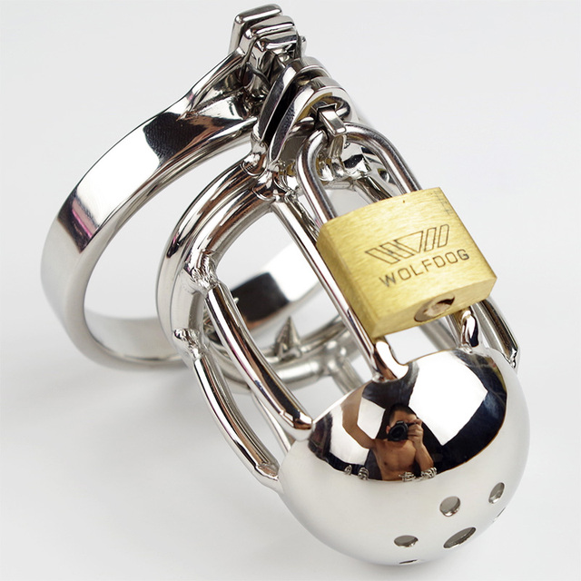 Male Chastity Belts Stainless Steel Chasity Cock Cage with Spike Ring Key Lock Fetish Sex slave Product