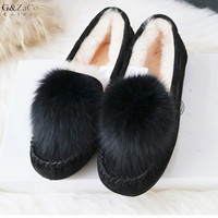 Autumn Winter Sheep Fur Flats Shoes Genuine Leather Cow Suede Female Flat Shoes Natural Ball Fox Fur Women Shoes