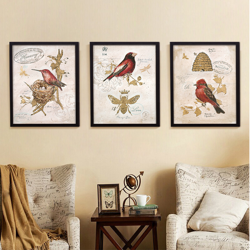 Vivi Bird Nest on Vintage Postcard Stamp Oil Painting Retro Canvas Art  Spray Paint for Collector for Living Room No Frame-in Painting &  Calligraphy