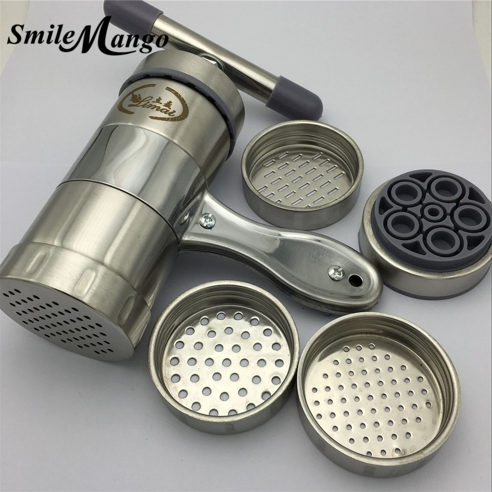 SmileMango Noodle Maker kitchen Stainless Steel Pasta Press Spaghetti Machine Fruit Juicer Manual Pasta Noodle Machine Make jiqi household hand noddles pasta maker machine stainless steel manual noodle press making noodle cutting machine 0 5mm 2 5mm