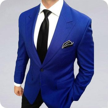 Hot Recommend Two Buttons Royal Blue Groom Tuxedos Groomsmen Peak Lapel Mens Suits Blazers (Jacket+Pants+Tie) W:902
