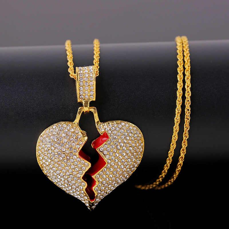 แฟชั่น Broken Heart สร้อยคอจี้ผู้หญิงผู้ชายเครื่องประดับ Hip Hop Bling Rhinestone ทองเงินสร้อยคอสร้อยคอยาว