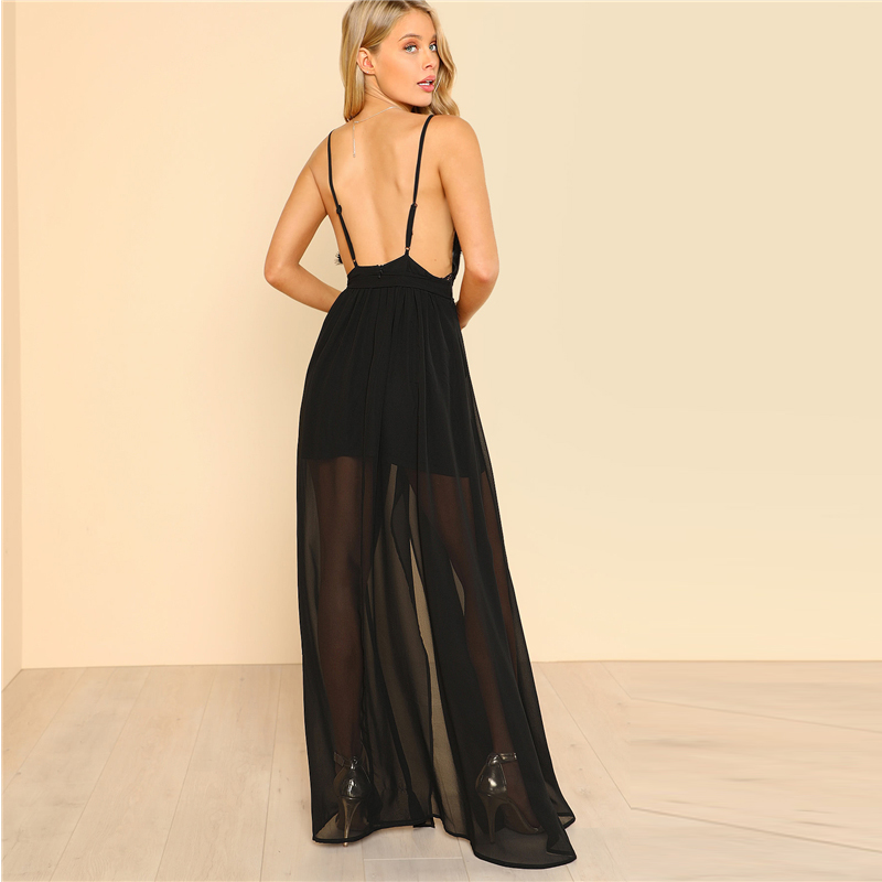 Black Backless Lace Plunge V Neck Maxi Dress