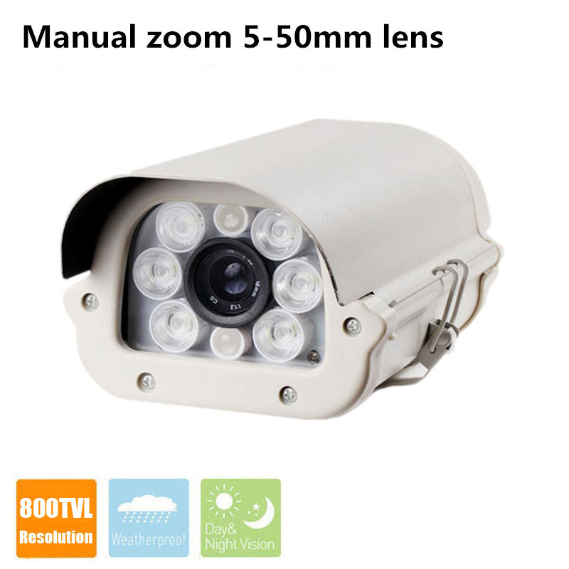 View License Plate Surveillance Sony 800TVL Zoom 5 50mm Lens White Light Day Night Color Security