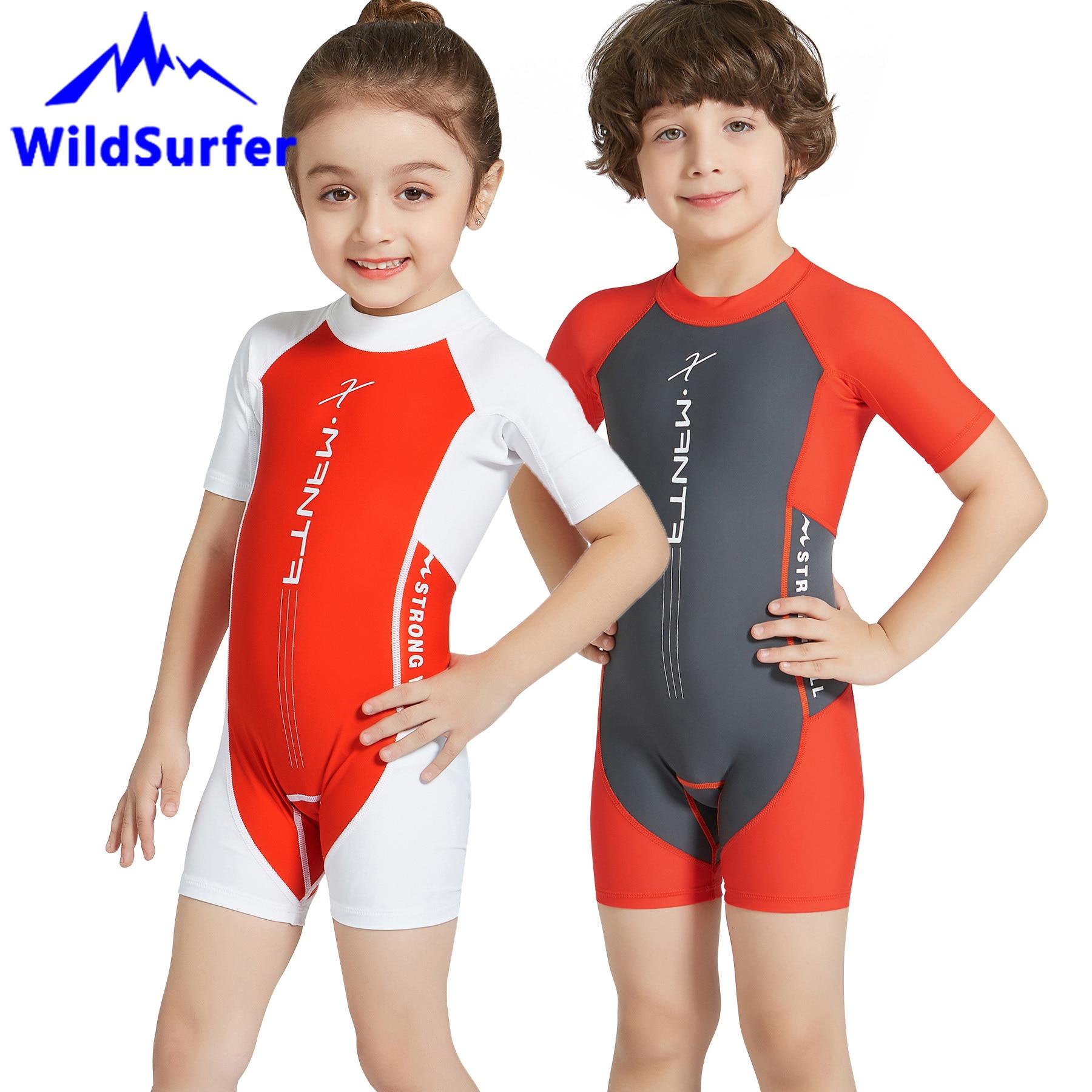 WildSurfer Kids Swimsuit One-Piece Rash Guard Girls 2-12 Years Boys Short Sleeve Back Zipper Dive Swimwear UPF50+ Sunscreen W123