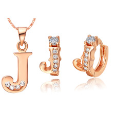Plated NEW suit 925 Sterling Silver made with a set of 26 letter set pendant ear Ding color letters J a j silver jubilate deo