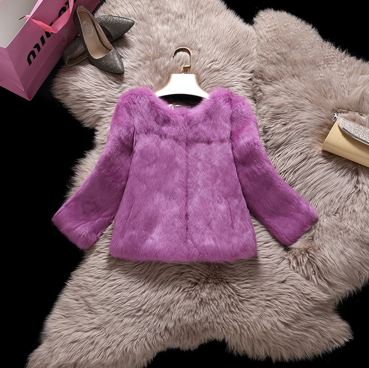 Whole skin leather natural rabbit fur coats outerwear women O neck real fur jackets plus size S - 6XL customize size MOVAU0047