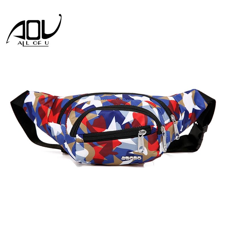 AOU Street Printing Waist Pack For Women 2018 Fanny Pack Bum Chest Bag Hip Money Handbag Belt Travel Camouflage Female Phone Bag camouflage detail bum bag