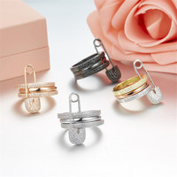 Luxury Solid S925 Silver Women Rings Monaco Brand Rose gold Pin Design wedding Three in one rings bague femme argent 925