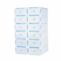 12PCS Clear Plastic Shoe Storage Boxes drawer Shoe Box Shoe Storage Box Containers Wardrobe Organiser Home Garage MAYITR