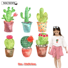 Nicediy Cute Cactus Patches Iron On Transfer For Clothes Cartoon Heat Thermal Transfers Patch Kids Applique Washable Decor