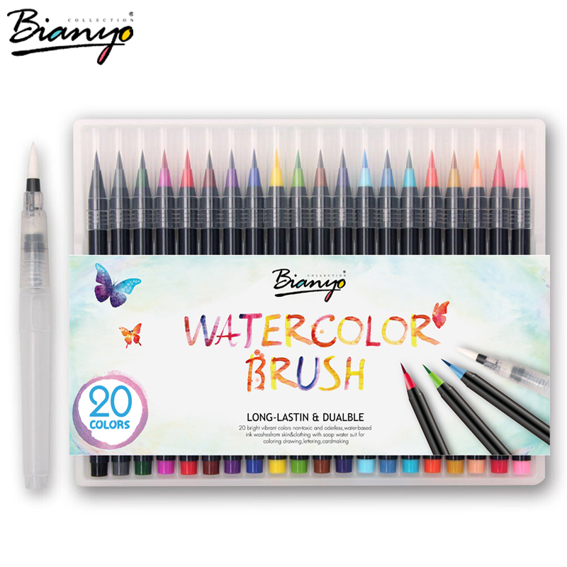 цены Bianyo 20 Colors Premium Painting Brush Pens Set Soft Flexible Tip Create Watercolor Markers for Manga Comic Calligraphy