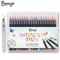 Bianyo 20 Colors Premium Manga Brush Pens Set Soft Flexible Tip Create Watercolor Markers For Manga